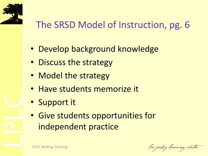 The SRSD Model of Instruction, pg.