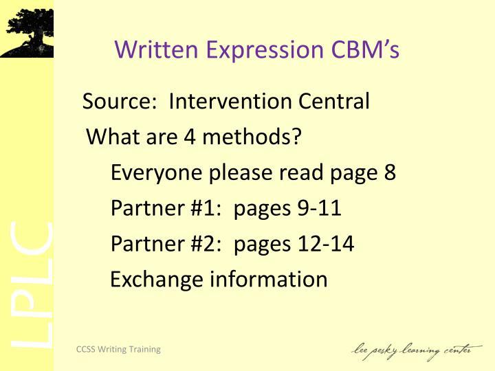 Written Expression CBM's