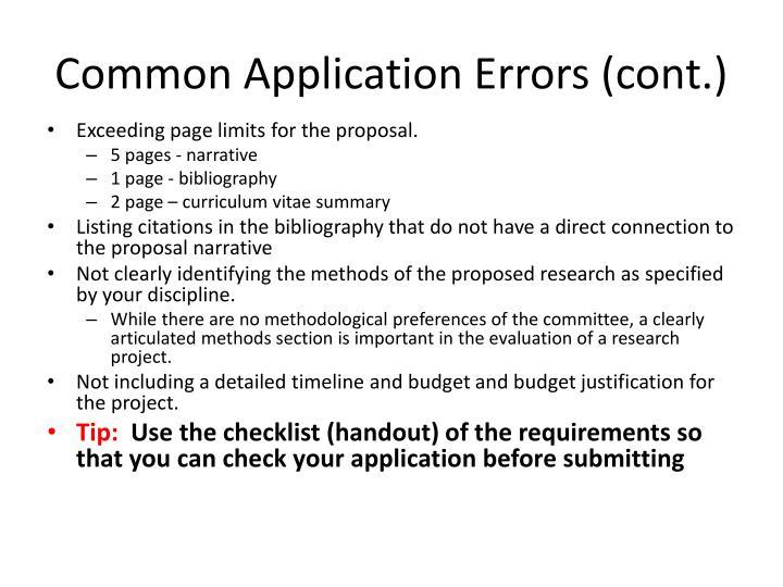 Common Application Errors (cont.)