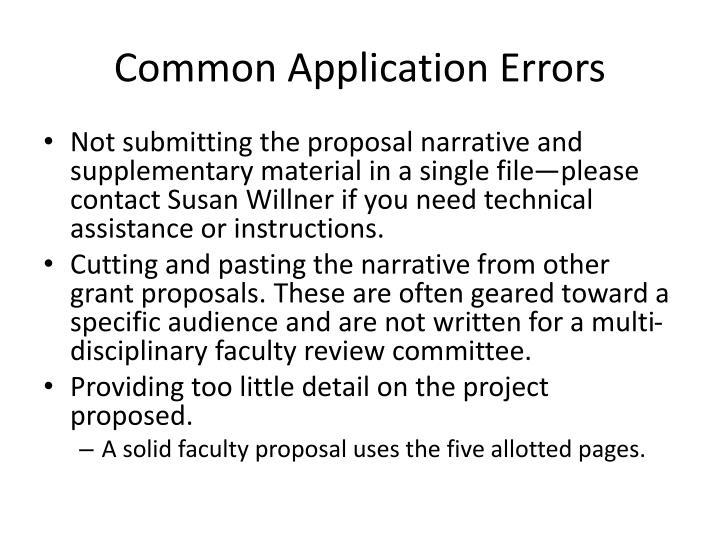 Common Application Errors