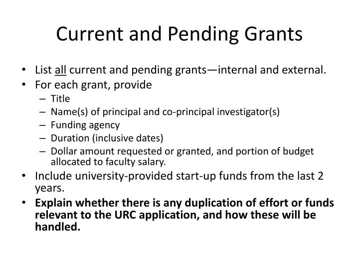 Current and Pending Grants
