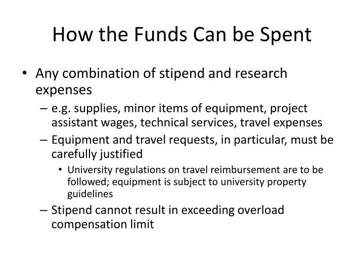How the Funds Can be Spent