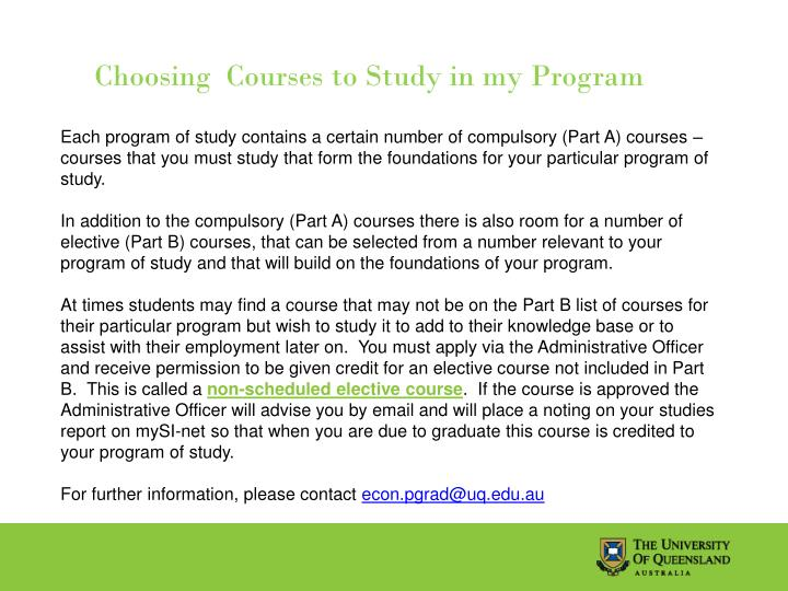 Choosing  Courses to Study in my Program