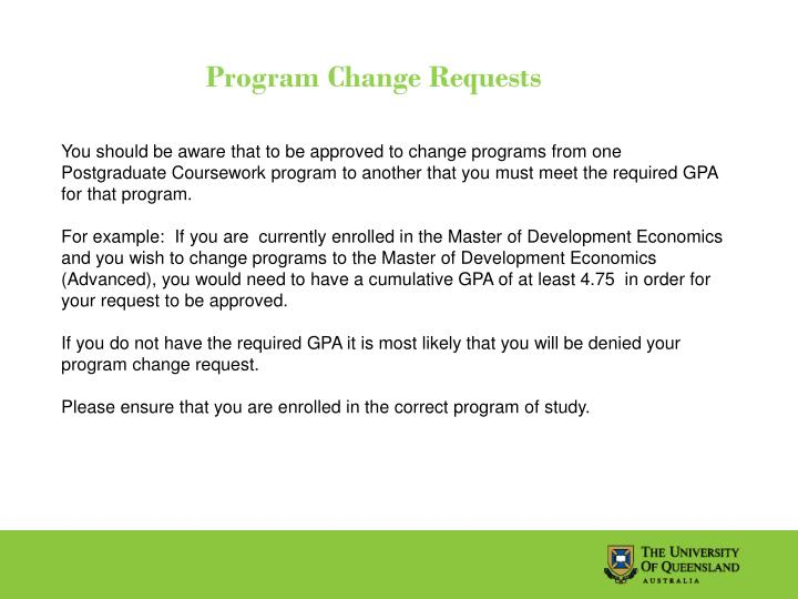 Program Change Requests