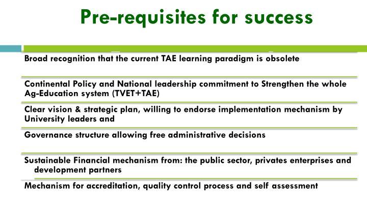 Pre-requisites for success