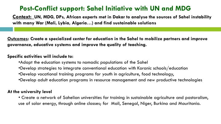 Post-Conflict support: Sahel