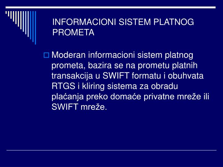 INFORMACIONI SISTEM PLATNOG PROMETA