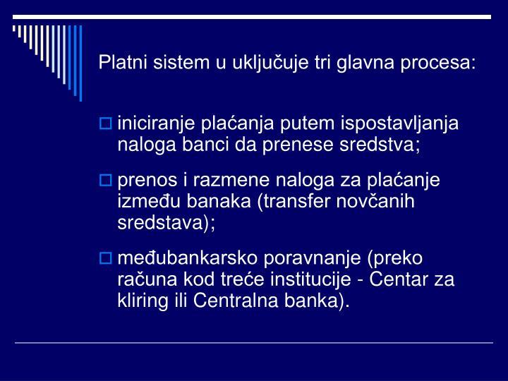 Platni sistem u uključuje tri glavna procesa: