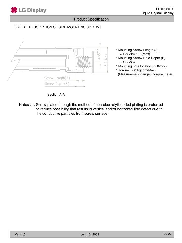 [ DETAIL DESCRIPTION OF SIDE MOUNTING SCREW ]