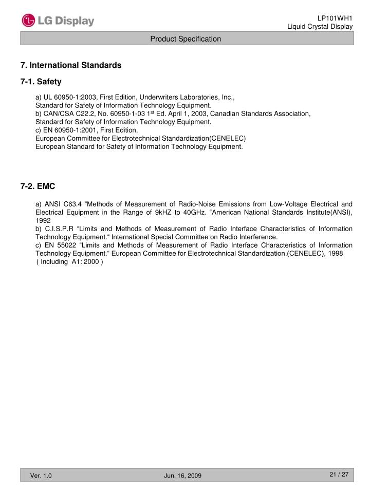 7. International Standards
