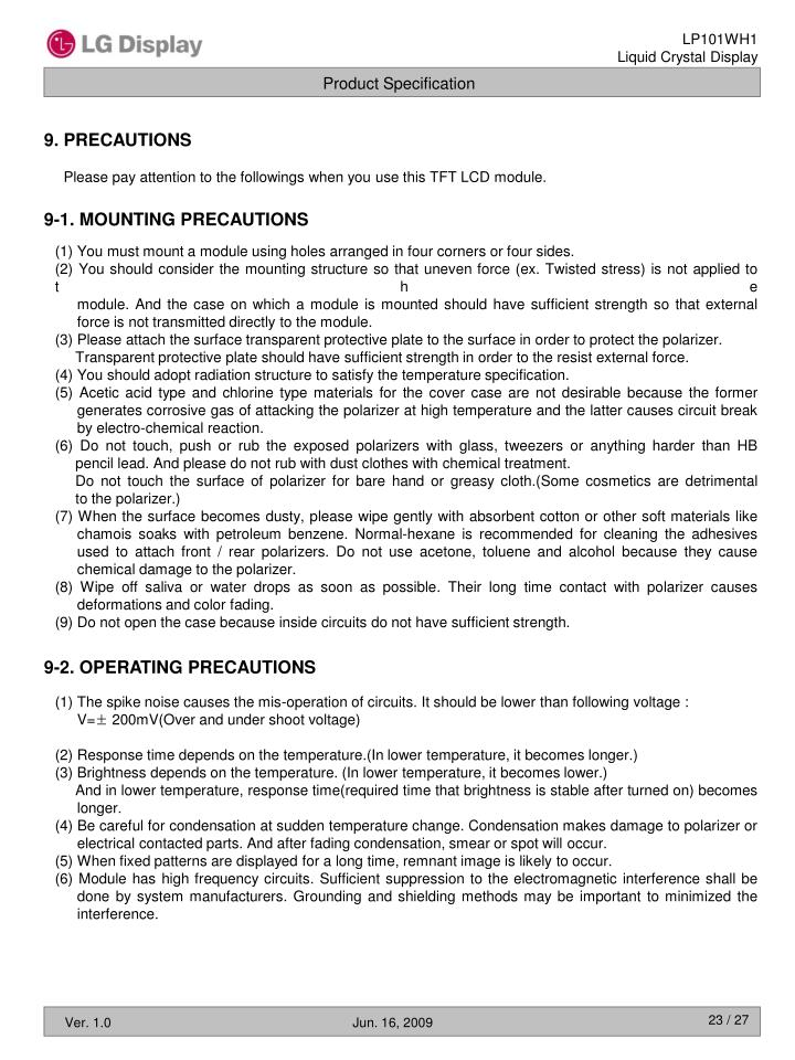 9. PRECAUTIONS