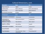 cultural dimensions cont