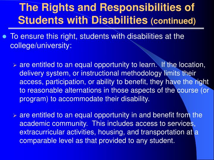 The Rights and Responsibilities of Students with Disabilities