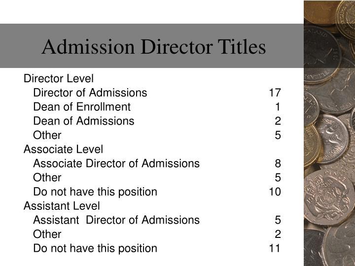 Admission Director Titles