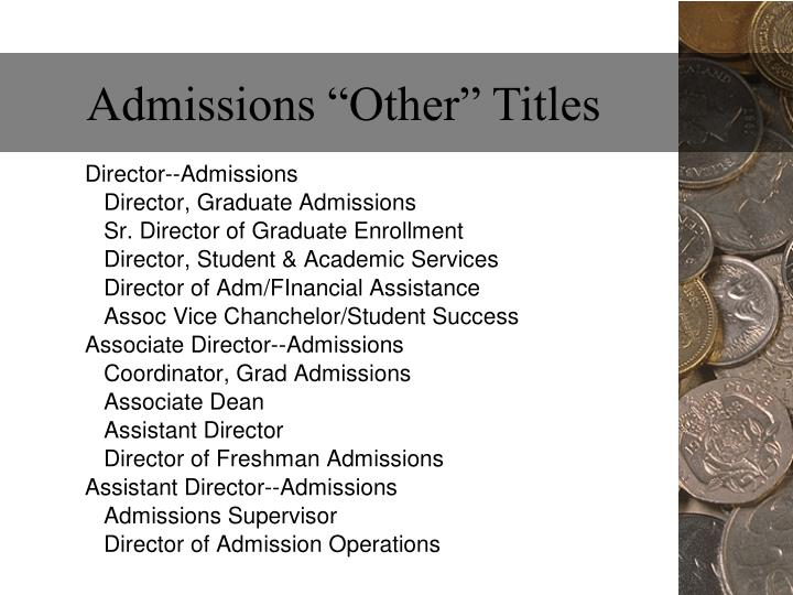 """Admissions """"Other"""" Titles"""