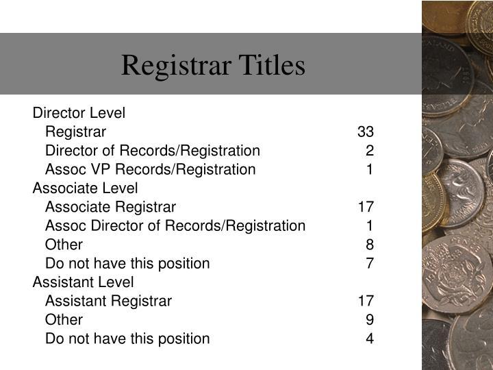 Registrar Titles