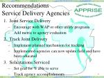recommendations service delivery agencies