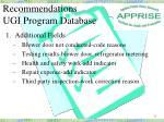 recommendations ugi program database