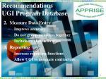 recommendations ugi program database1