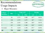 recommendations usage impacts3
