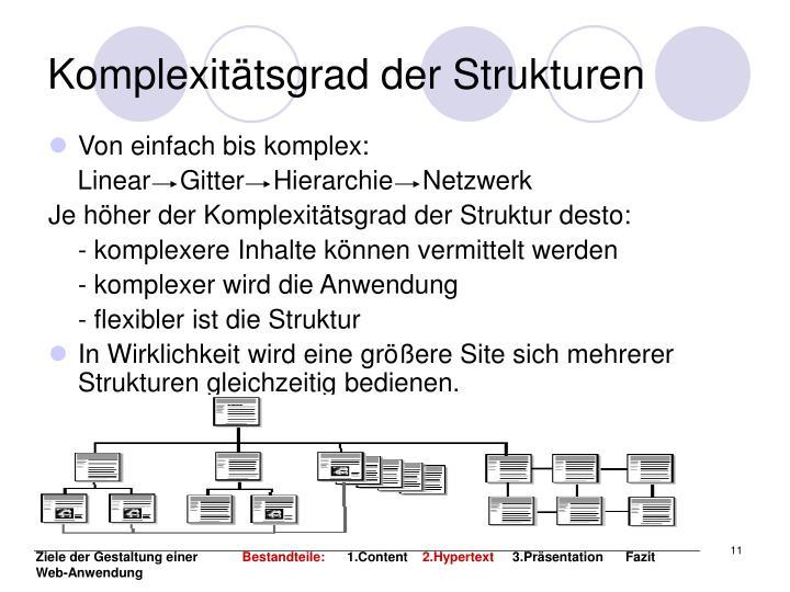 Komplexitätsgrad der Strukturen