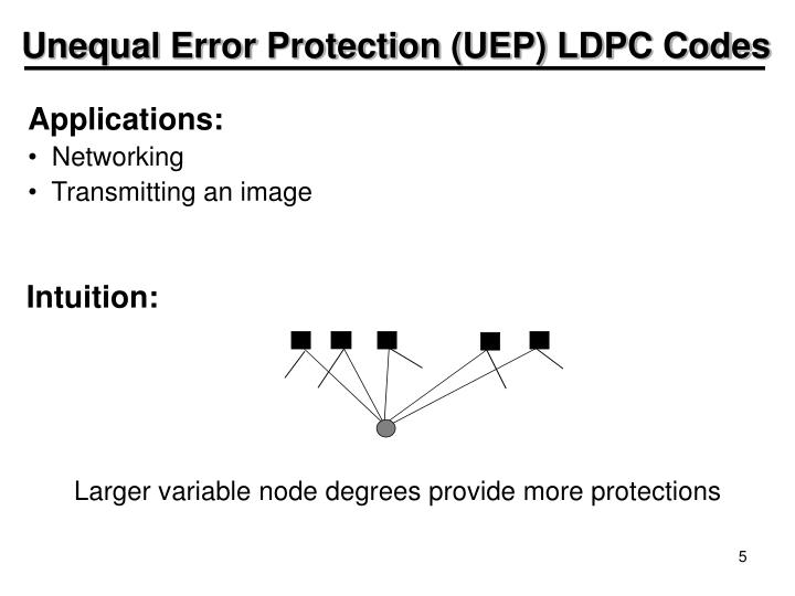 Unequal Error Protection (UEP) LDPC Codes