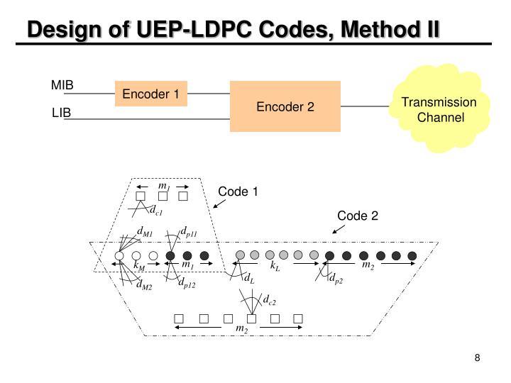 Design of UEP-LDPC Codes, Method II