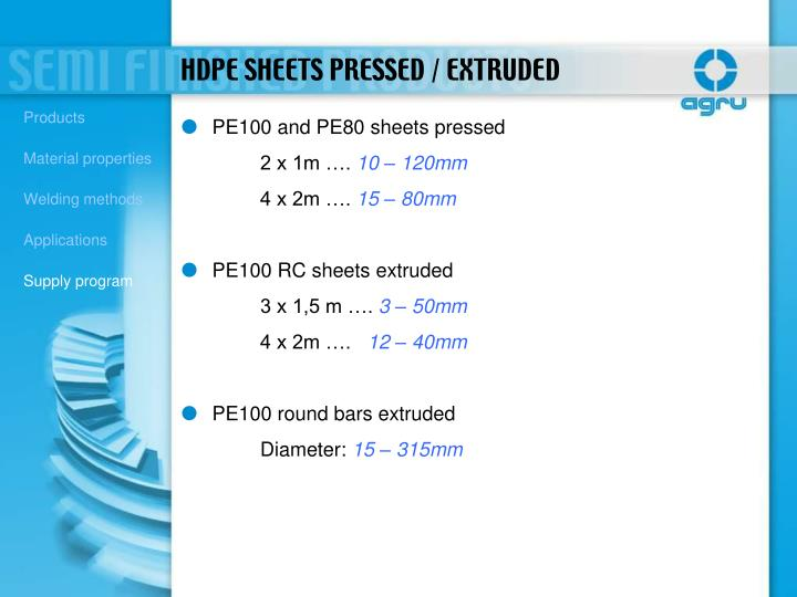 PE100 and PE80 sheets pressed