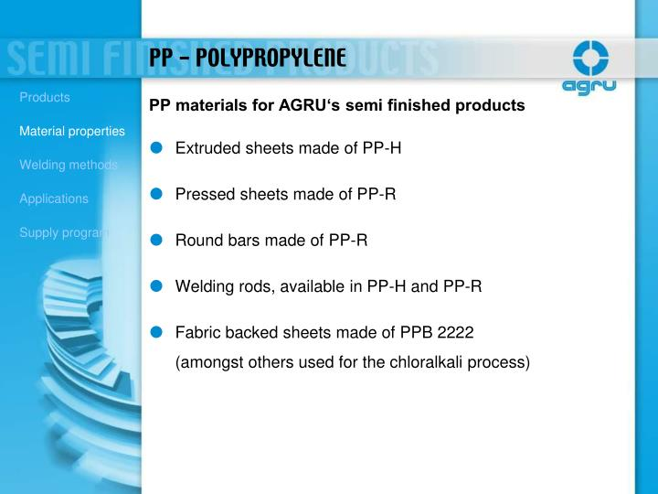 PP materials for AGRU's semi finished products