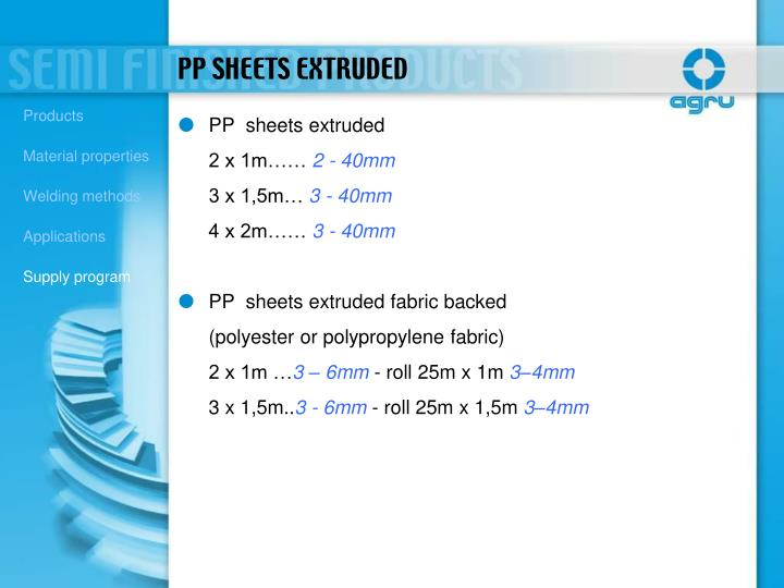 PP  sheets extruded