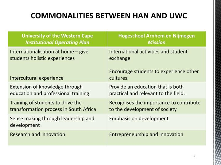 COMMONALITIES BETWEEN HAN AND UWC