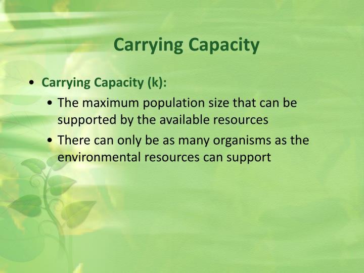 Carrying Capacity (k):