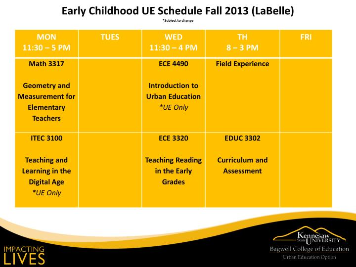 Early Childhood UE Schedule Fall 2013 (LaBelle)