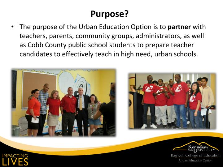 The purpose of the Urban Education Option is to