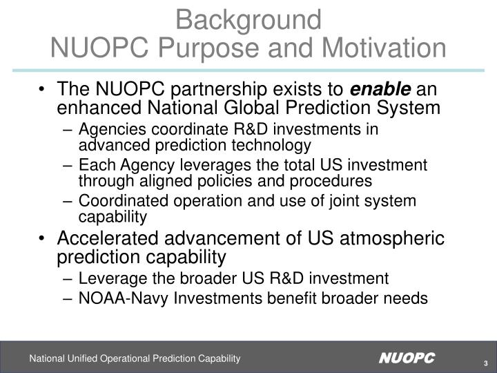 Background nuopc purpose and motivation
