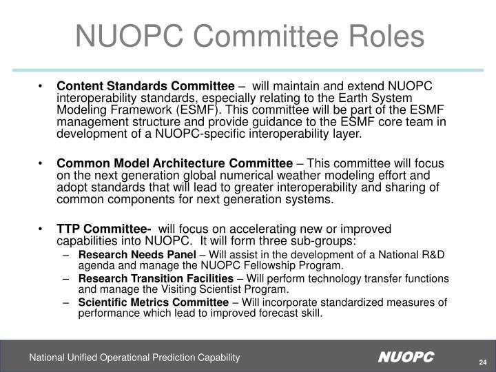 NUOPC Committee Roles