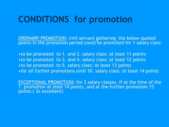 CONDITIONS  for promotion