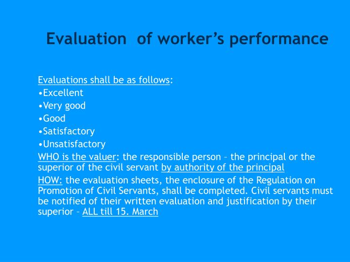 Evaluation  of worker's performance