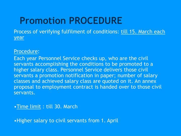 Promotion PROCEDURE
