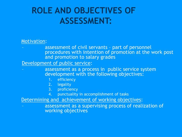Role and objectives of assessment