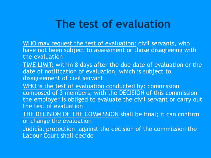 The test of evaluation
