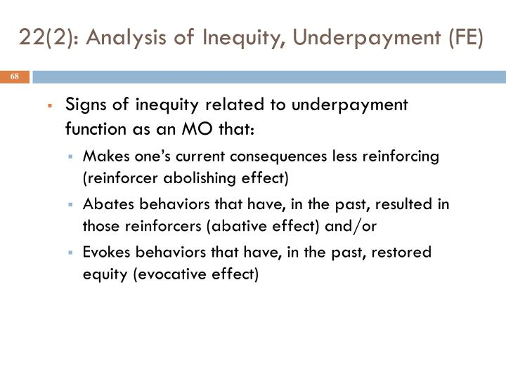 22(2): Analysis of Inequity, Underpayment (FE)
