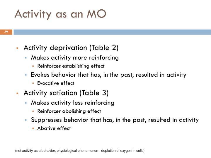 Activity as an MO