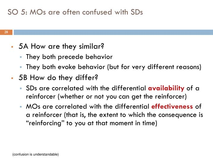 SO 5: MOs are often confused with SDs