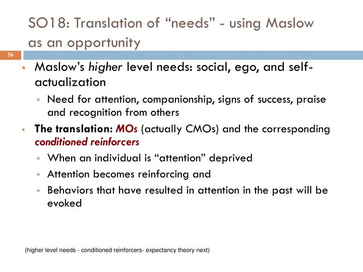 """SO18: Translation of """"needs"""" - using Maslow as an opportunity"""