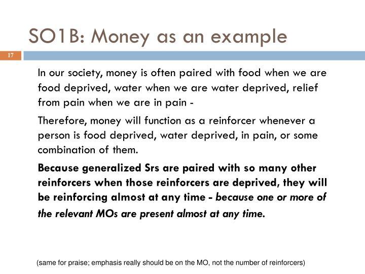 SO1B: Money as an example