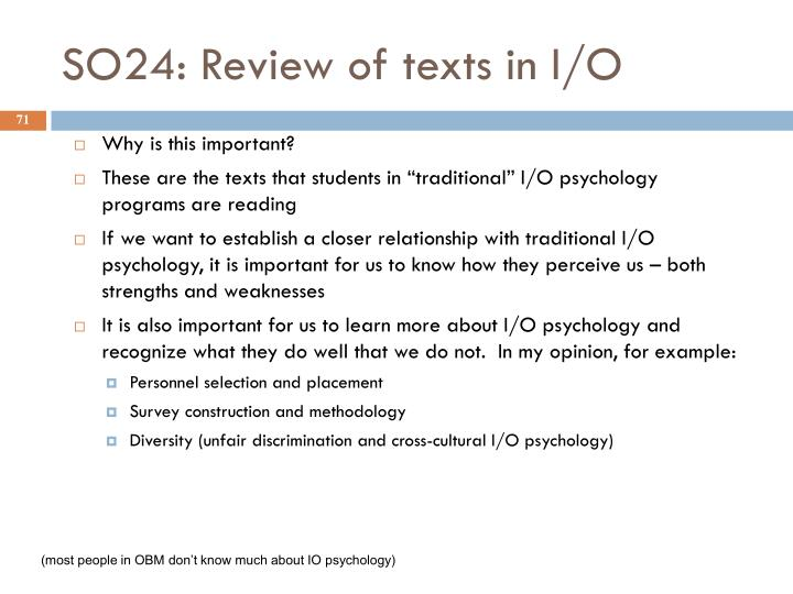 SO24: Review of texts in I/O