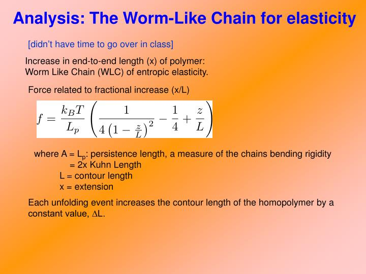 Analysis: The Worm-Like Chain for elasticity