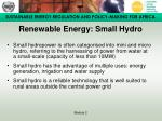 renewable energy small hydro