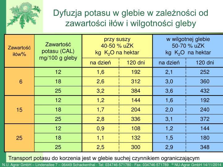 Dyfuzja potasu w glebie w zależności od zawartości iłów i wilgotności gleby